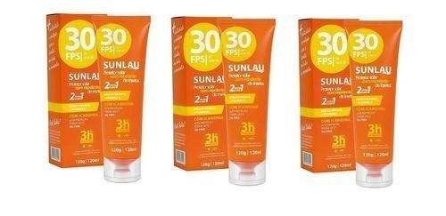 Combo 3 Protetores Solar FPS 30 com Repelente de Insetos Icaridina 2 em 1 Sunlau
