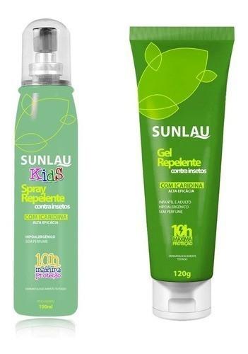 Combo Repelente em Gel + Repelente infantil Kids com icaridina Sunlau 10 horas de proteção