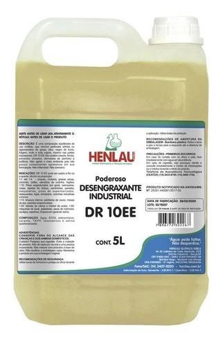 Desengraxante industrial DR 10EE com quaternário de amônio Henlau 5 litros