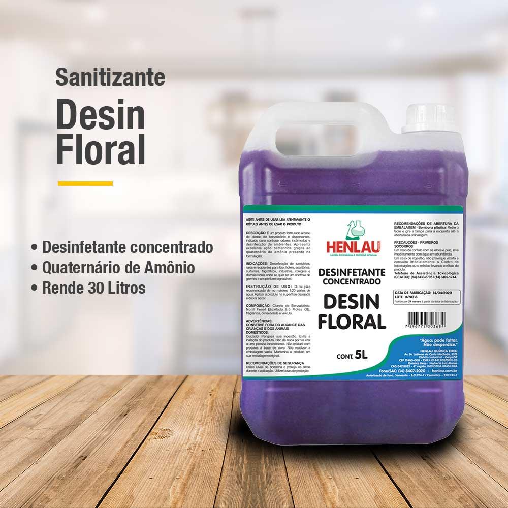 Desinfetante Sanitizante antimicrobiano Desin concentrado com quaternário de amônio Henlau 5 litros