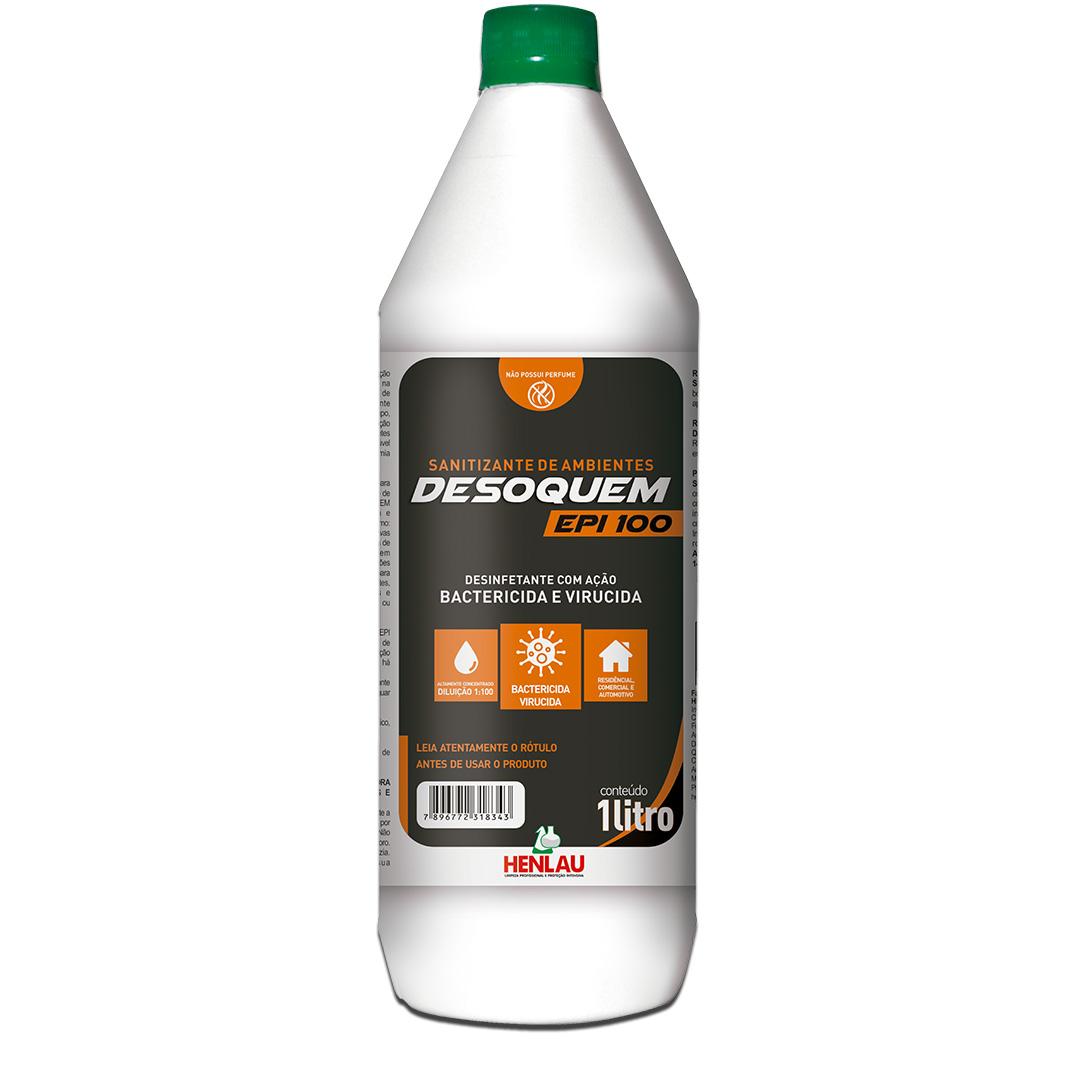 Desoquem EPI 100 Sanitizante Desinfetante com Quaternário de Amônio de quinta geração 1 litro
