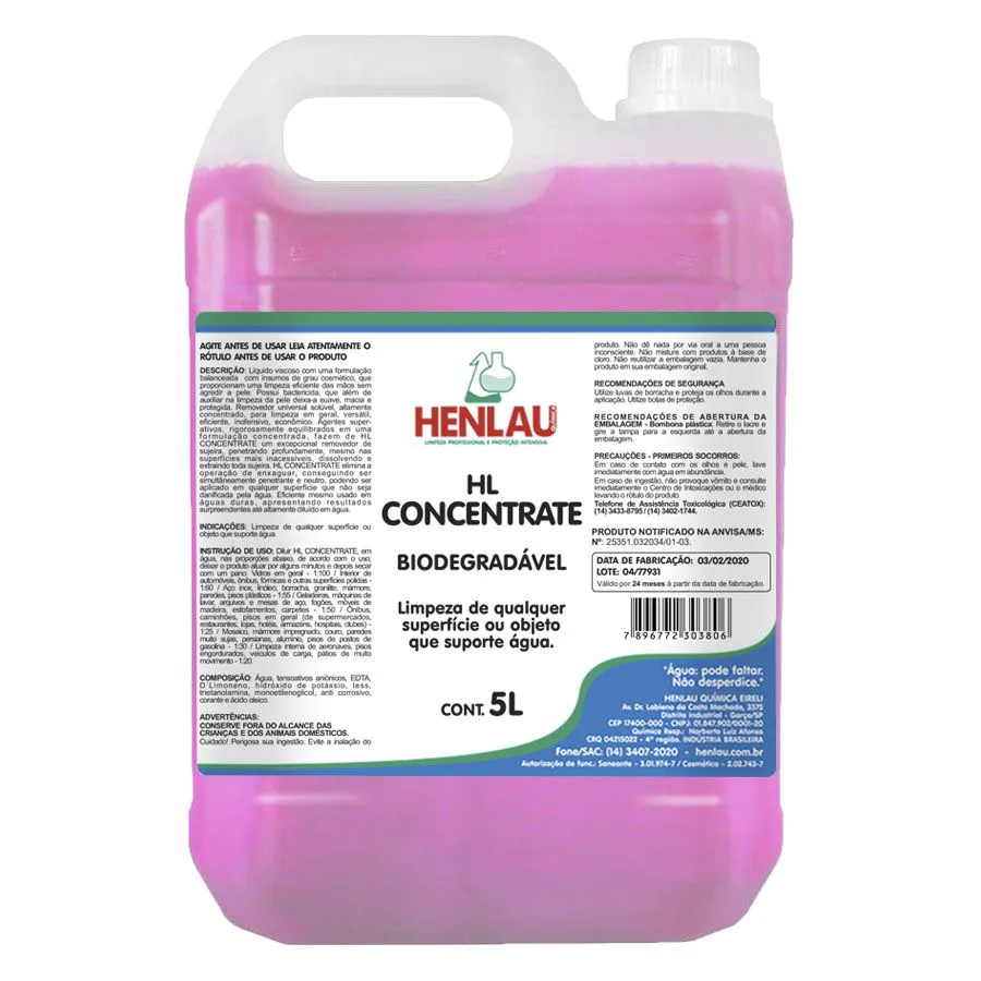 Limpador Multiuso HL Concentrate biodegradável Henlau 5 litros