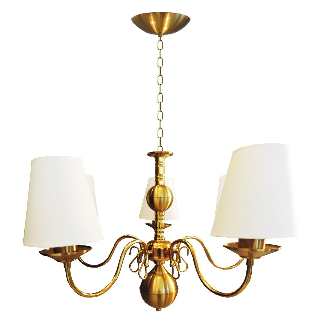 Kit 1 lustre clássico provençal dourado 5 braços e 2 arandelas clássicas provençal com cúpula em tecido
