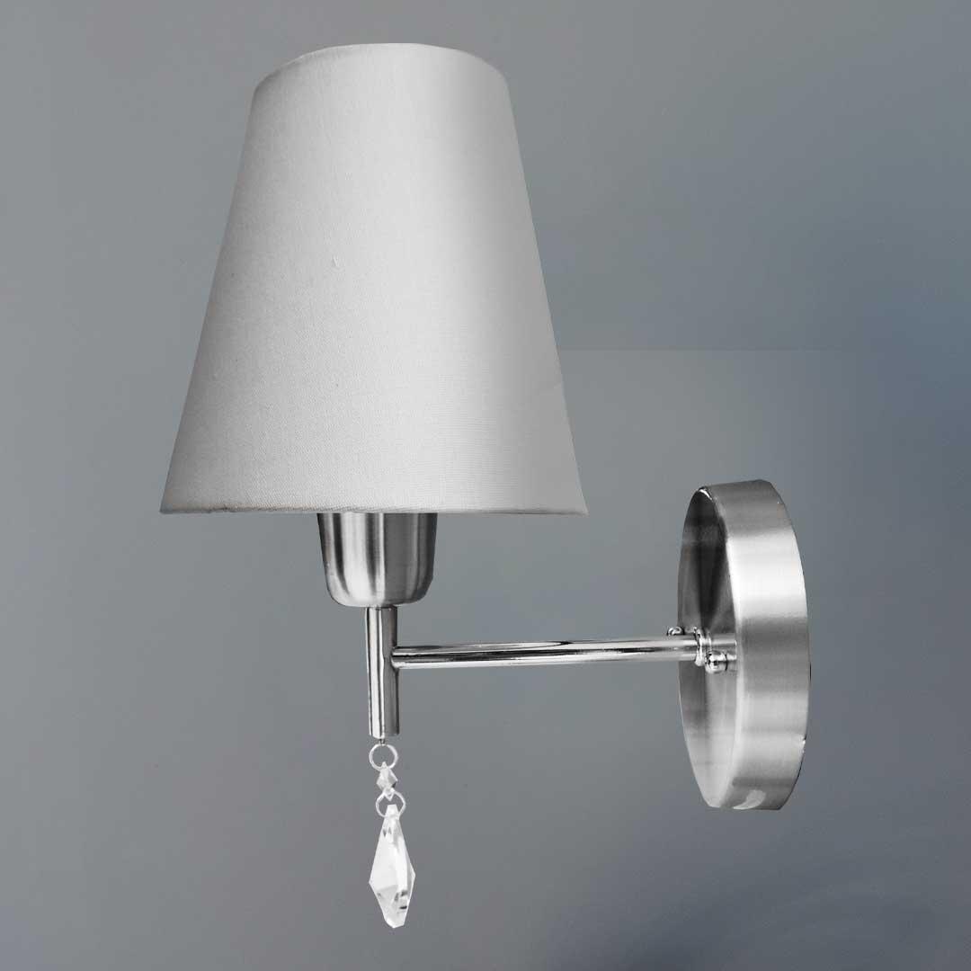 Kit 2 arandelas Bianca clássicas Aço escovado com cúpula em tecido
