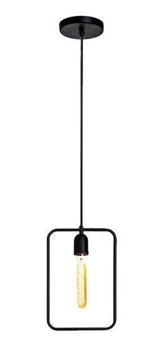 Kit 2 pendentes aramados retangular preto 20cm retrô