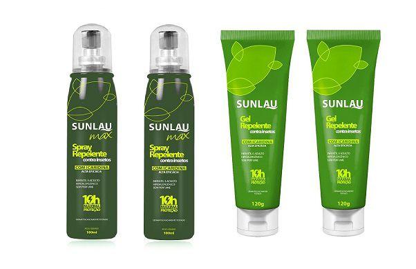 KIT 2 Repelentes em gel + 2 Repelentes Max - Com icaridina 10 horas de proteção - Sunlau