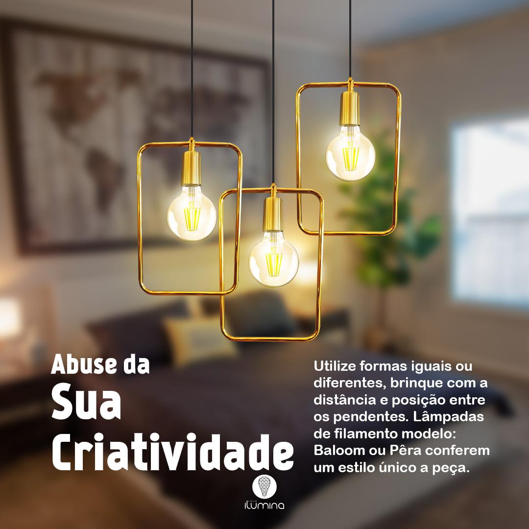 Kit 3 Pendentes Aramado Retrô Quadrado Ouro