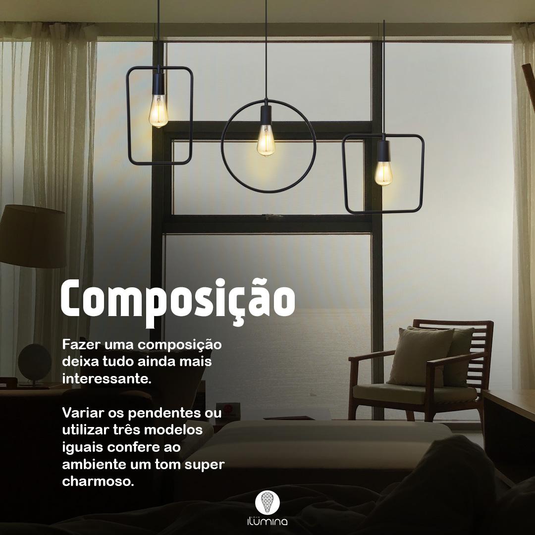 Kit 3 Pendentes Aramado Retrô Redondo Preto