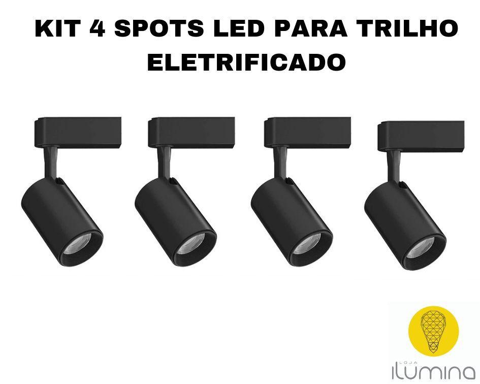 KIT 4 Spots LED para Trilho Eletrificado preto em metal