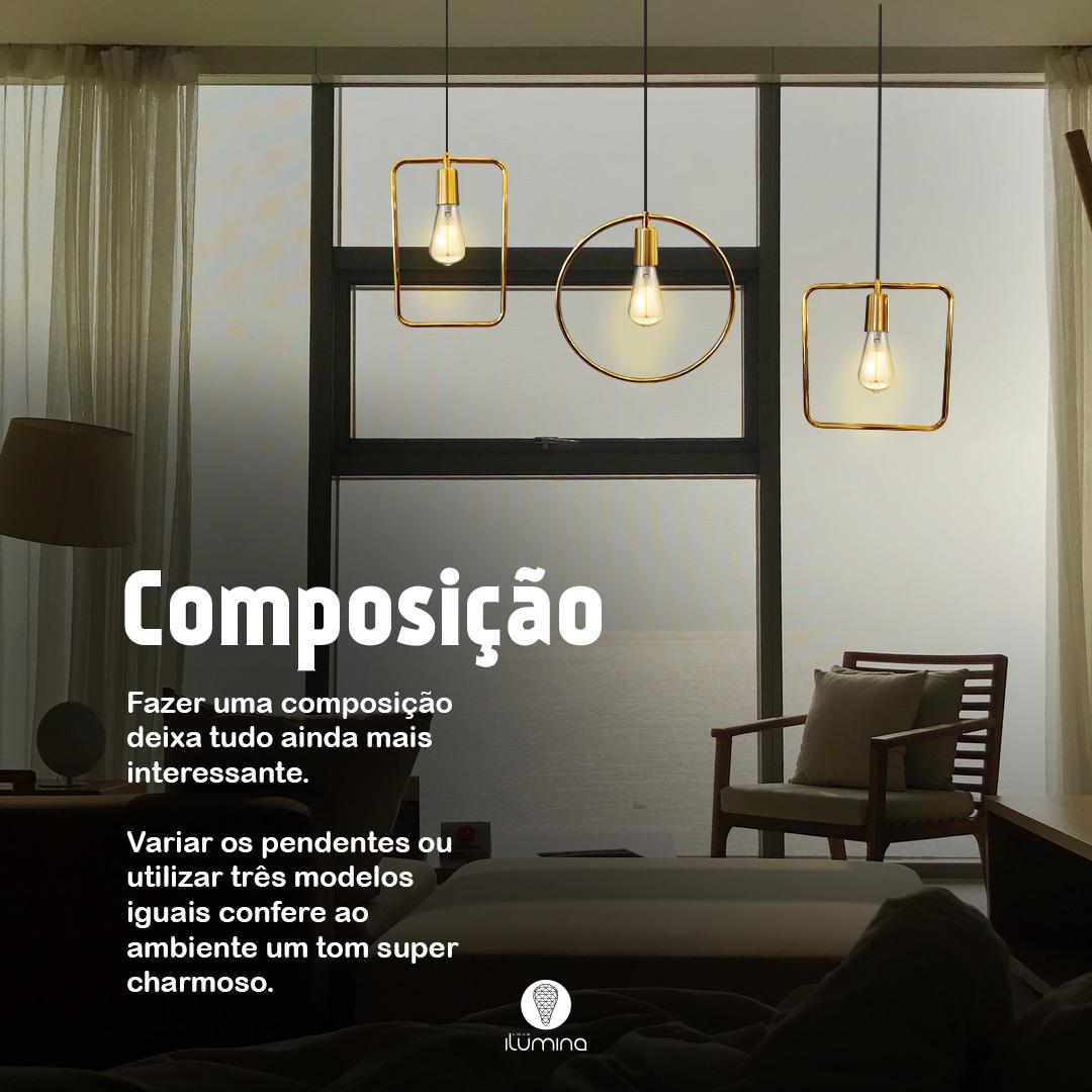 Kit 5 Pendentes Aramado Retrô Redondo Ouro