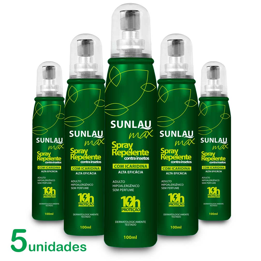 Kit 5 Repelente Sunlau Max Spray com Icaridina