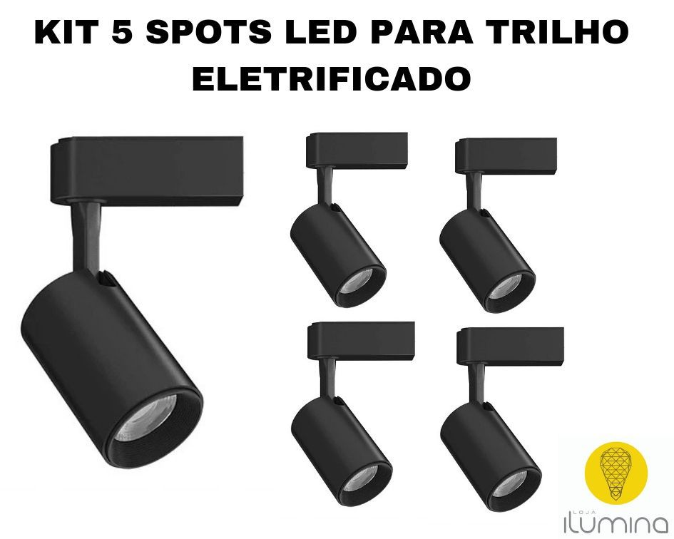 KIT 5 Spots LED para Trilho Eletrificado preto em metal