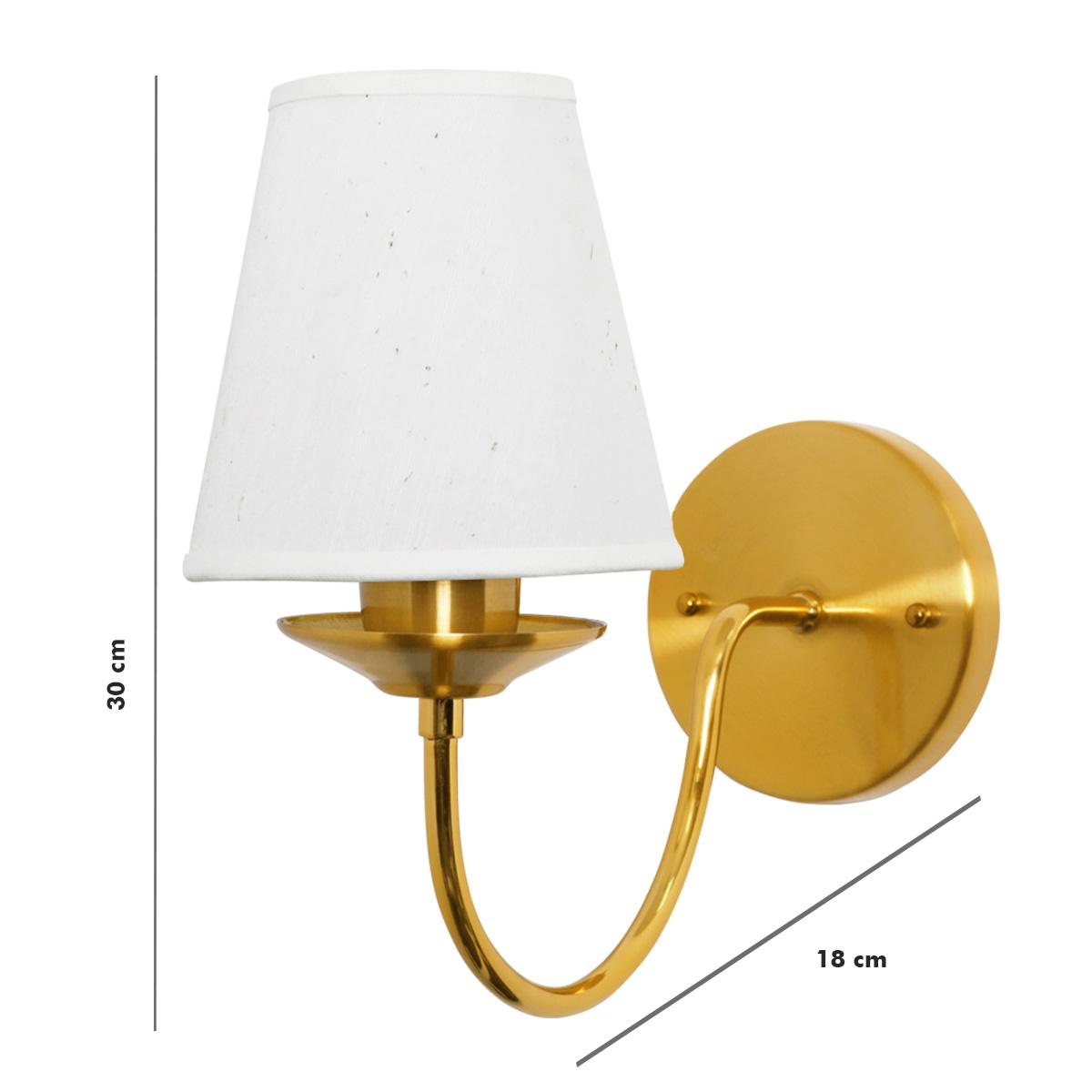 Kit 6 Arandela Clássica Dourada Cúpula Tecido Área Interna