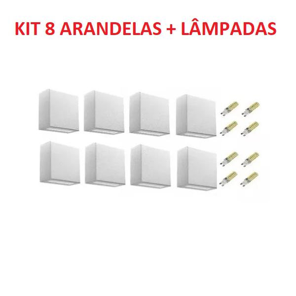 Kit 8 Arandelas 2 fachos Área Externa e Interna Effet 05 e 8 Lâmpadas