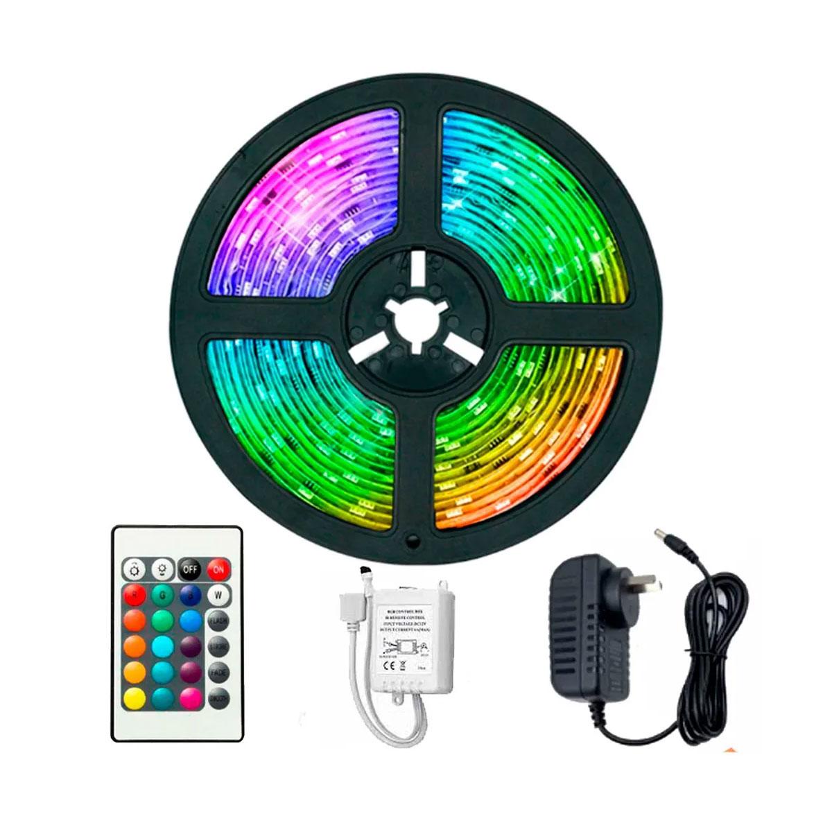 Kit Fita LED RGB Colorida 2835 IP20 Rolo 5M 12V com controle e fonte 2A