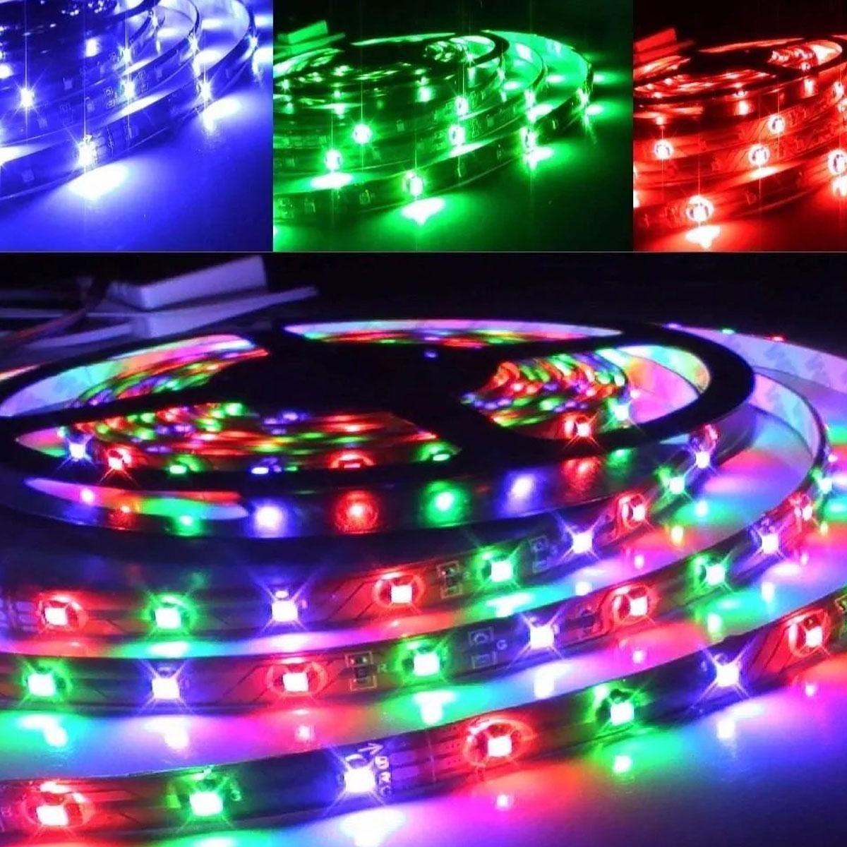 Fita led colorida RGB 2835 IP20 Rolo 5M 12V