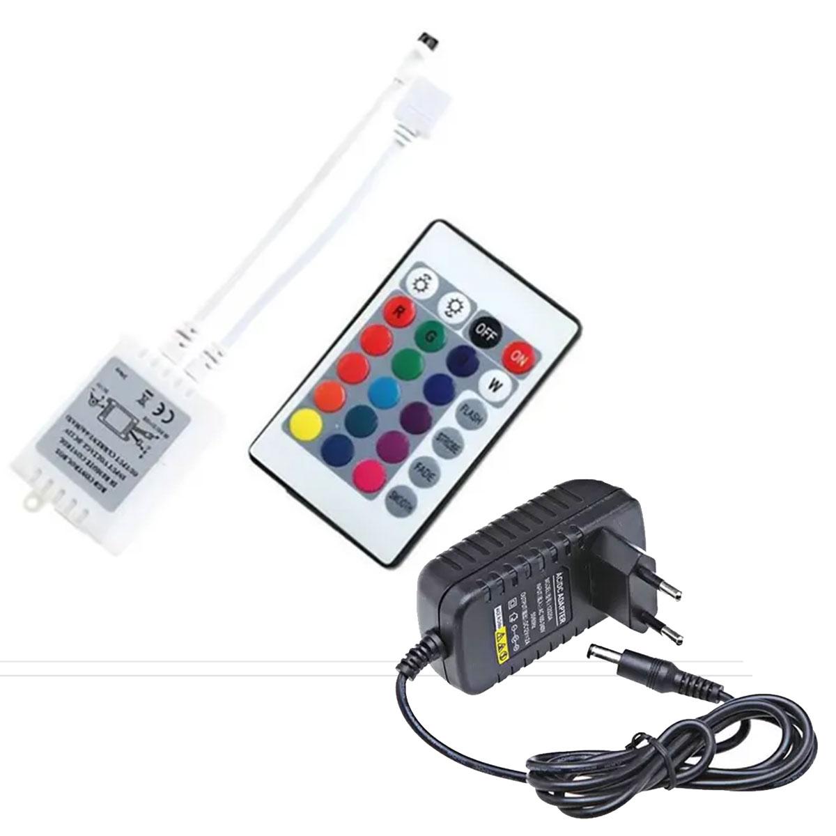 Kit Fita Led Rgb 2835 Ip20 Rolo 5m 12v + Controle