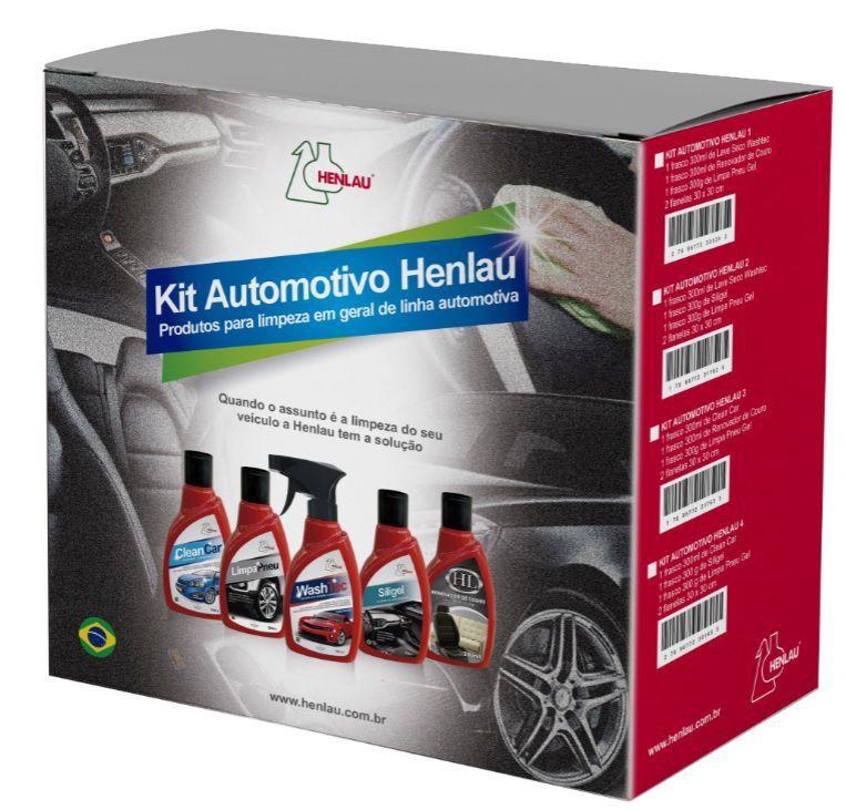 Kit limpeza automotiva 2 - Washtec Lavagem a seco , Siligel silicone em gel, Limpa Pneu e 2 flanelas - Henlau