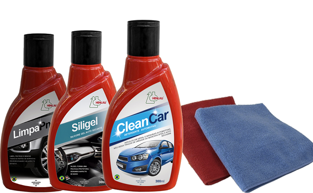 KIT Limpeza Automotiva 3 - Clean car, Siligel silicone em gel, Limpa Pneu gel + 2 flanelas - Henlau