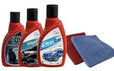 KIT Limpeza Automotiva 4 - Clean car, Siligel silicone em gel, Limpa Pneu Gel + 2 flanelas - Henlau