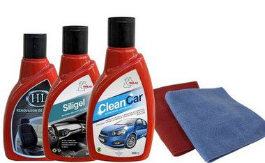 KIT Limpeza Automotiva 4 - Clean car, Siligel silicone em gel, Limpa Pneu Gel + 2 flanelas - Henlau