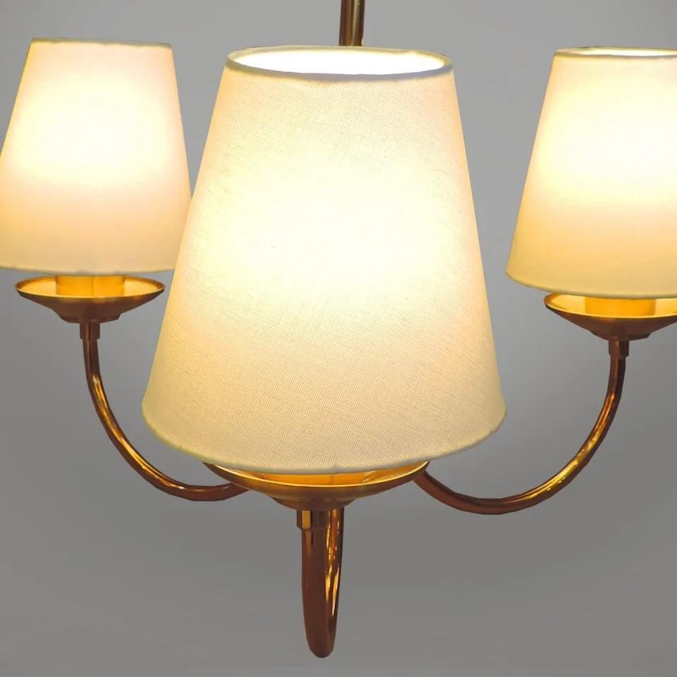 Kit lustre clássico Nina 3 braços dourado com cúpula em tecido + 2 arandelas clássicas Nina com cúpula em tecido