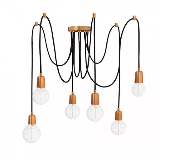 Kit Pendente Aranha em alumínio verniz cobre com 6 lâmpadas de filamento de LED G95