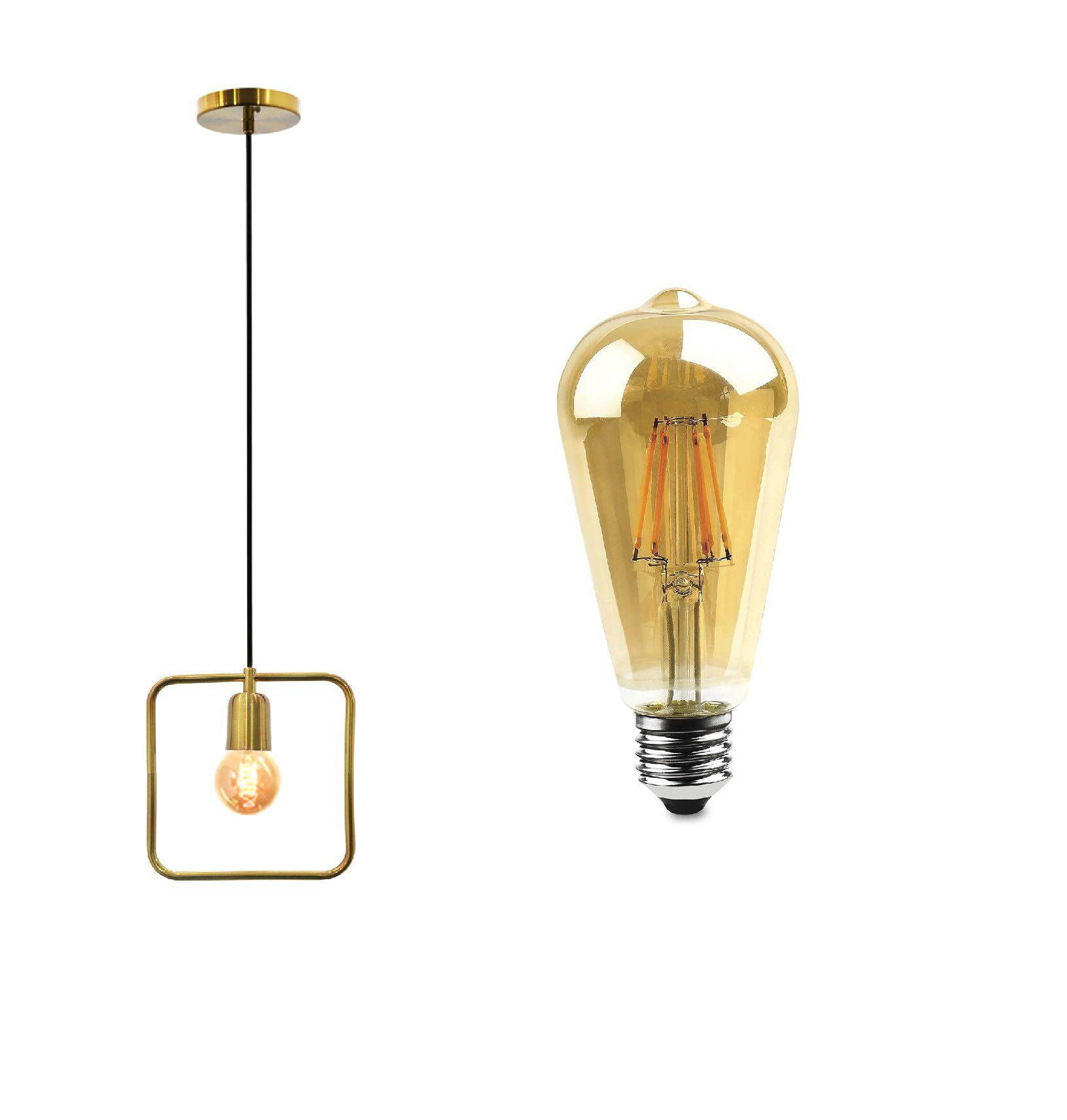 KIT Pendente quadrado verniz ouro 25cm e 1 lâmpada de led pêra vintage st64 filamento 4W Evoled