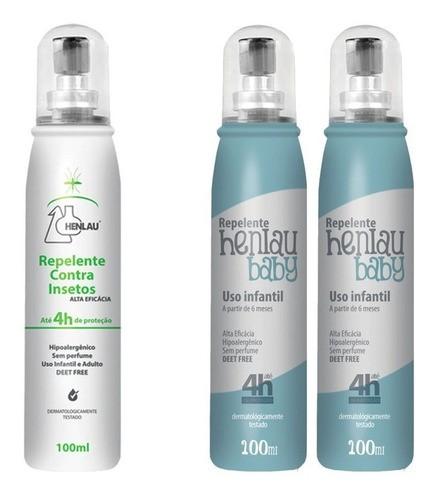 Kit Repelente Spray Adulto E Bebê Proteção Henlau Ir3535
