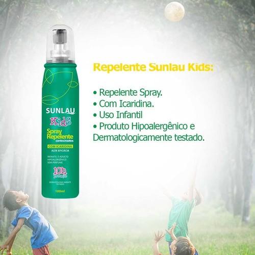 Kit Repelente: Sunlau Max com Icaridina +  Repelente Kids + Repelente par Roupa + Repelente Gel.