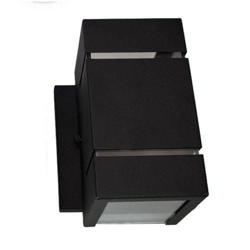 Luminária Arandela preta com dois focos e frisos em alumínio e vidro para área interna e externa