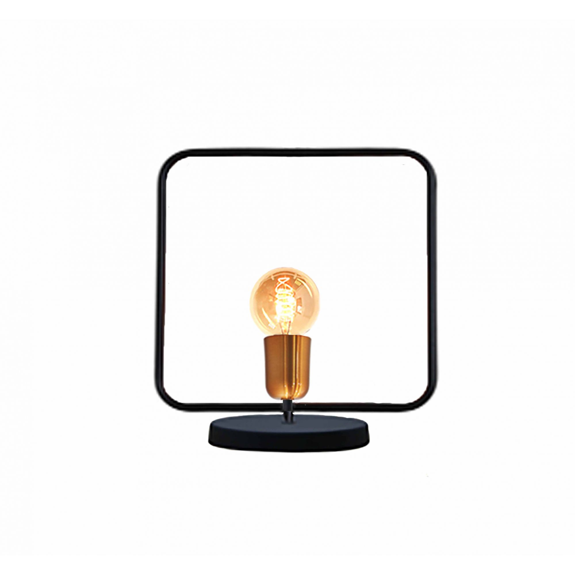 Luminária de mesa abajur Retrô quadrado preto fosco em alumínio 250mm x 280mm para 1 lâmpada E27