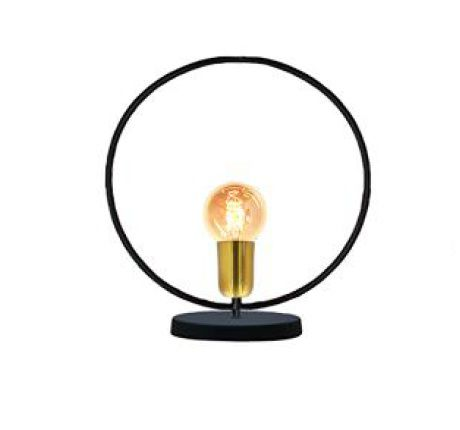 Luminária de mesa abajur Retrô redondo preto fosco e verniz ouro em alumínio 30cm x 33cm x 12cm para 1 lâmpada E27