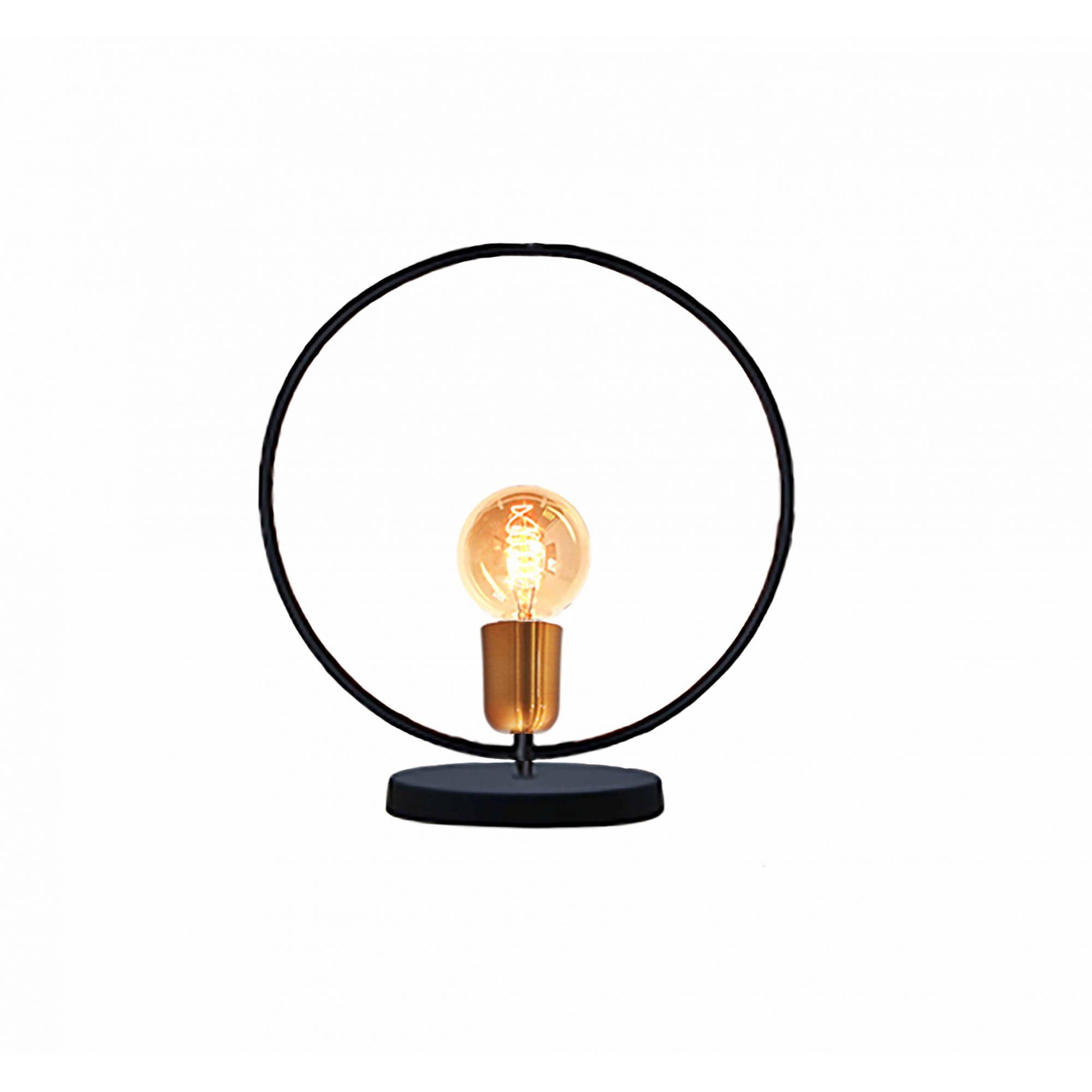 Luminária de mesa abajur Retrô redondo preto fosco em alumínio 30cm x 33cm x 12cm para 1 lâmpada E27
