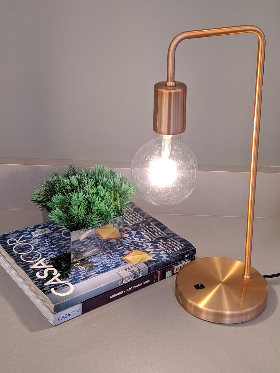 Luminária de Mesa abajur Retrô Mimo Cobre