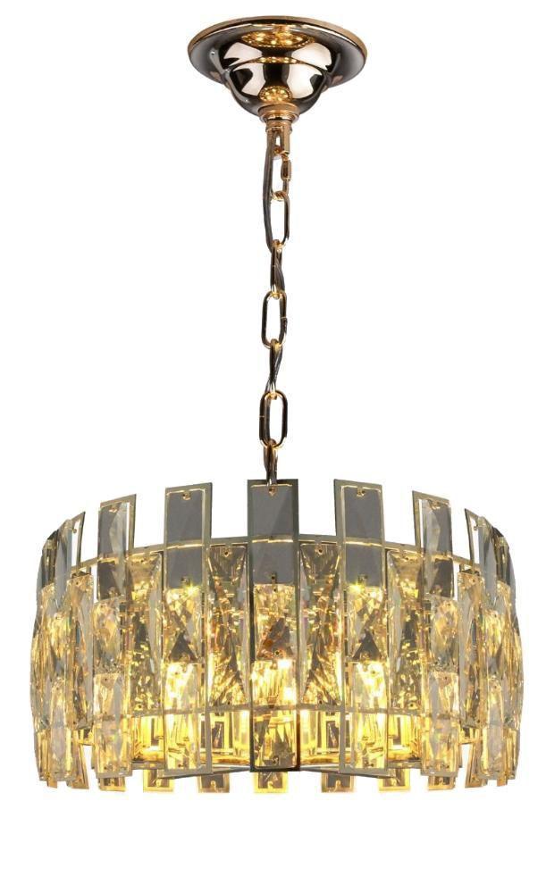 Luminária De Teto Em Cristal Dourado Montaggio 45cm