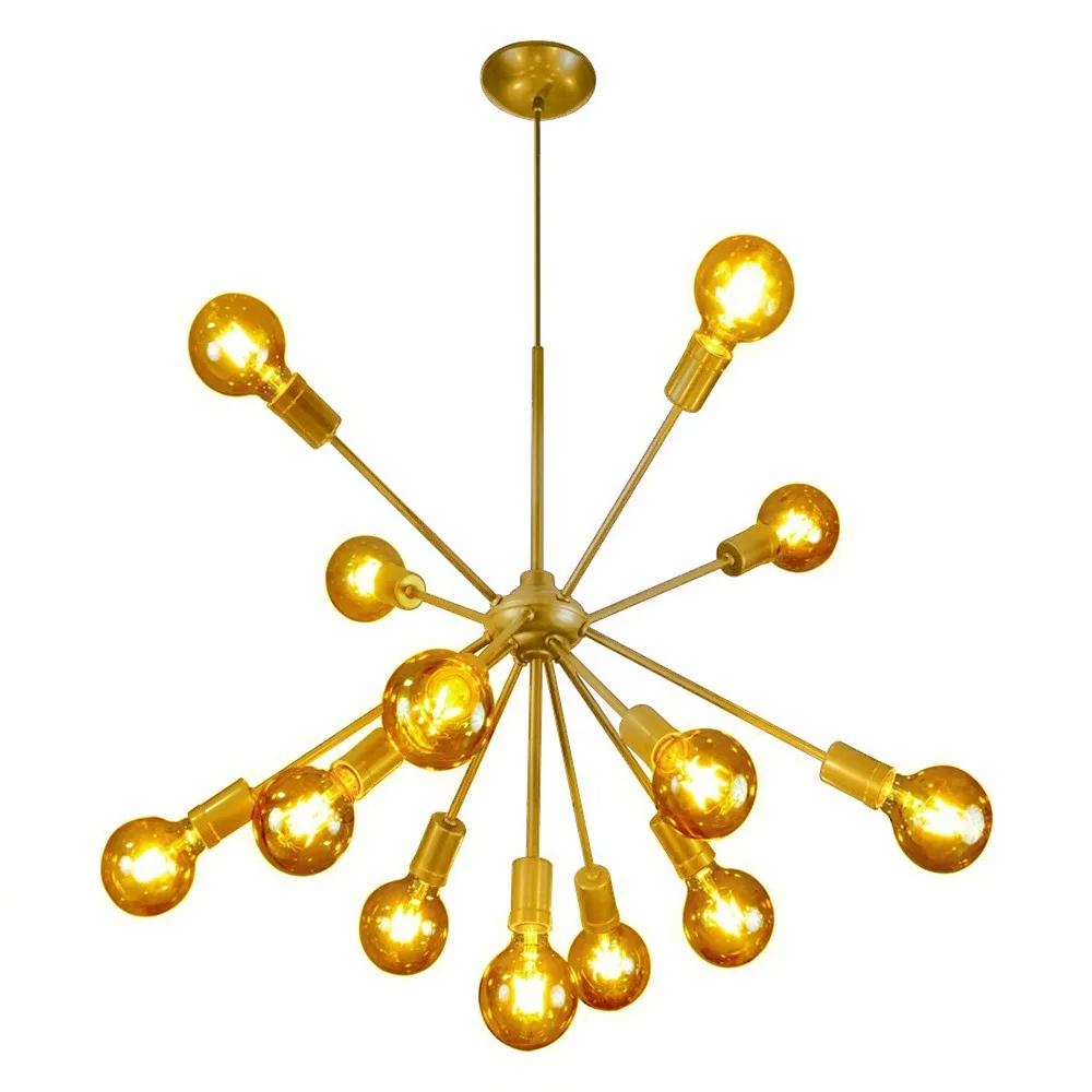 Luminária Moderna Pendente Lustre Sputnik Dourado Átomo 13 Lâmpadas