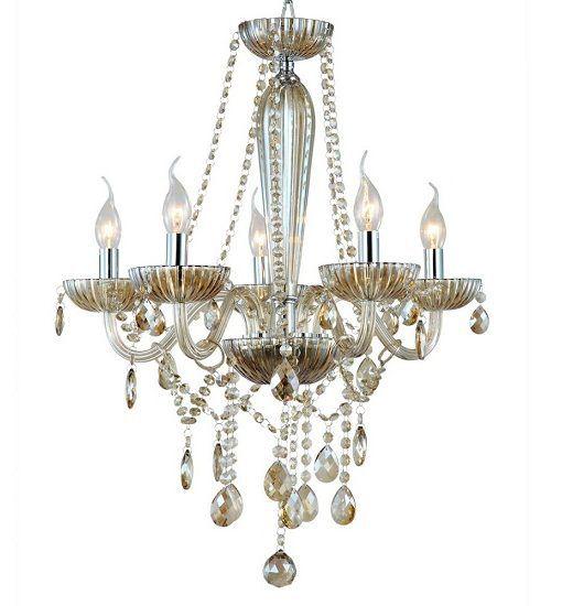Lustre De Cristal Sala, Cozinha, Sala De Estar candelabro clássico vintage em alumínio escovado para 5 lâmpadas Clássico de cristal K9 âmbar 5 braços 55cm diâmetro
