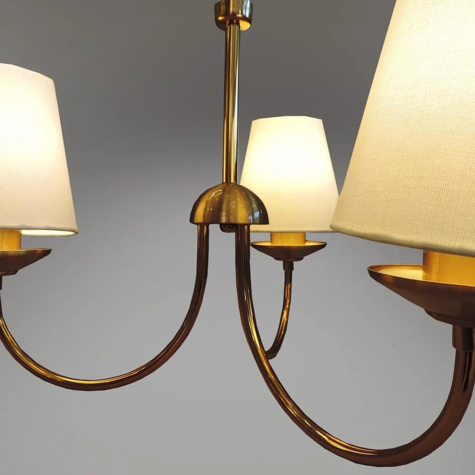 Lustre Clássico Madrid em alumínio cor verniz ouro/tecido bege para 3 Lâmpadas E27 35cm x 48cm