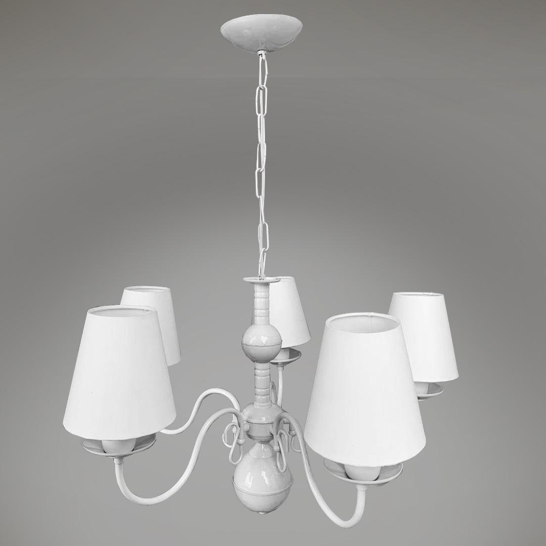 Lustre clássico provençal branco 5 braços com cúpulas em tecido vintage infantil
