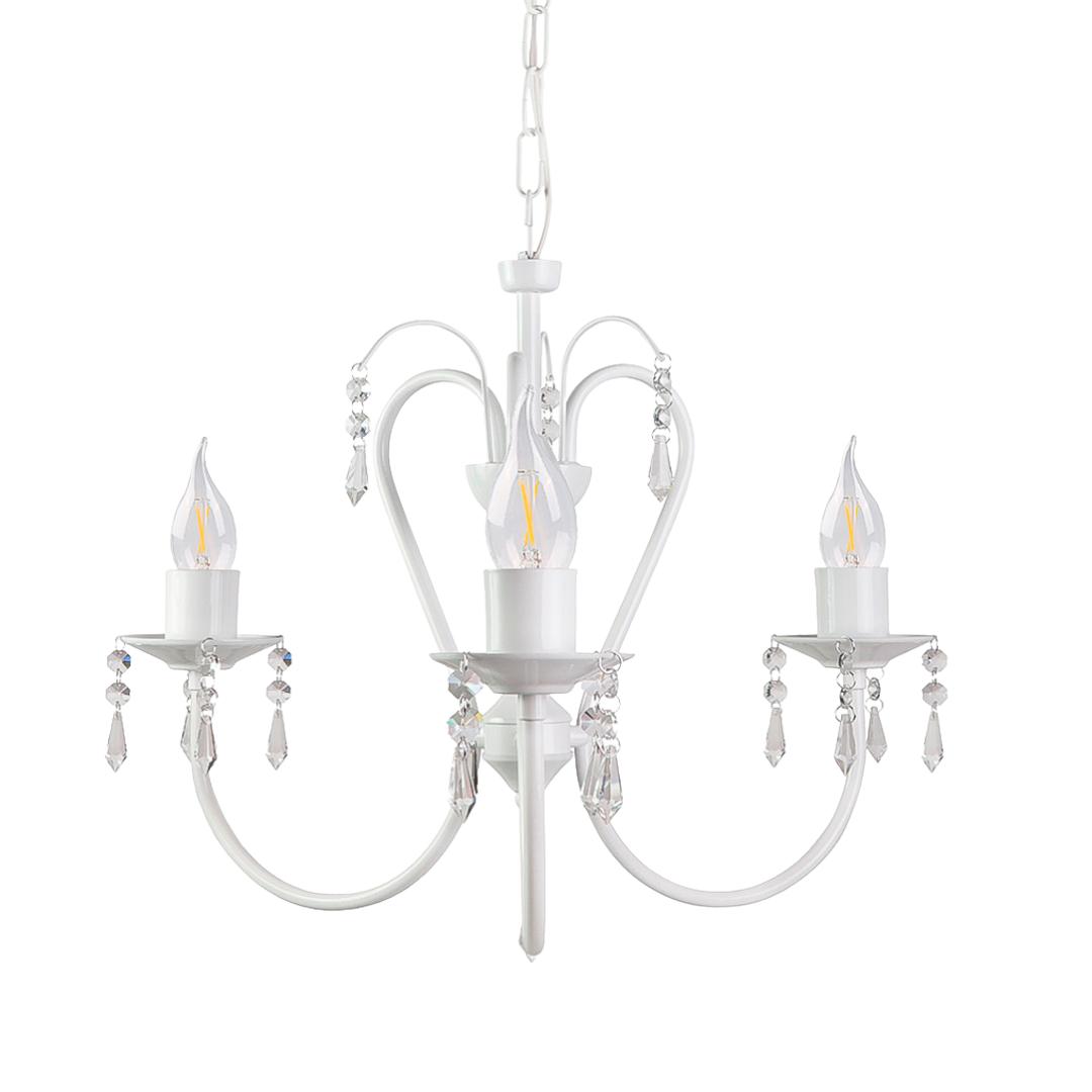 Lustre Clássico Cristais Em Alumínio  Branco 3 Lâmpadas Vintage Belle