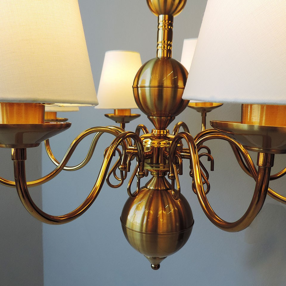Lustre Clássico Vintage Cúpula para 8 lâmpadas E27 Ø65cm