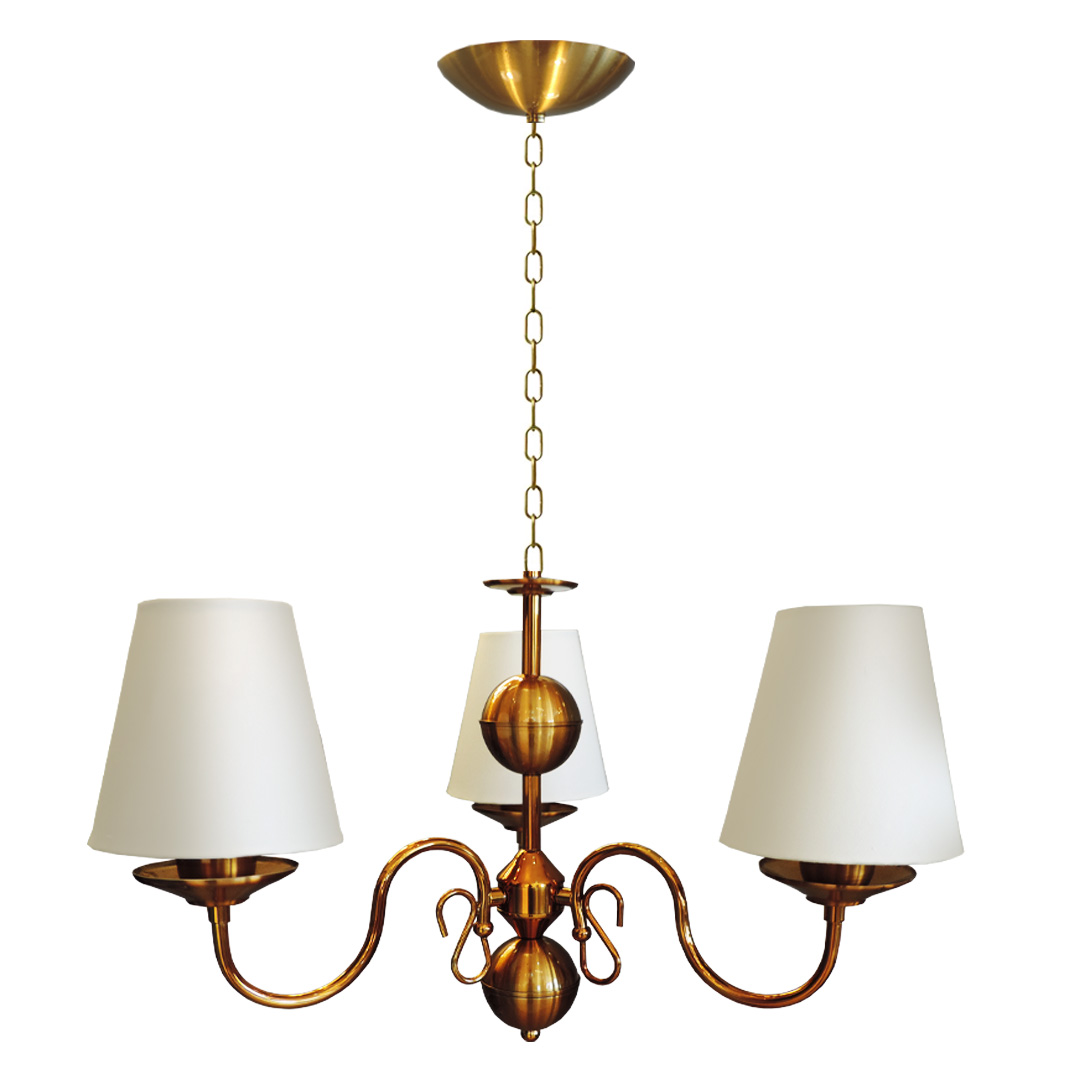 Lustre Clássico Vintage Dourado Cúpula para 3 Lâmpadas