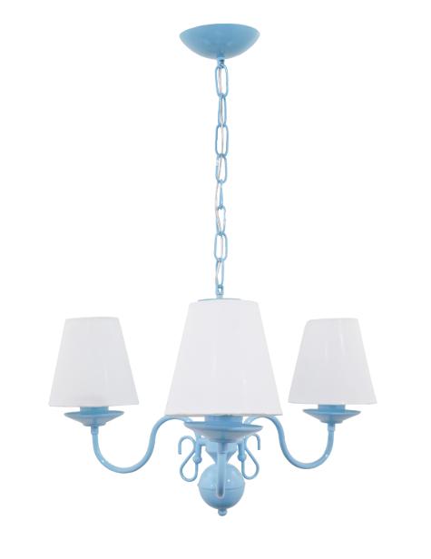 Lustre para quarto candelabro clássico vintage infantil azul para 3 lâmpadas