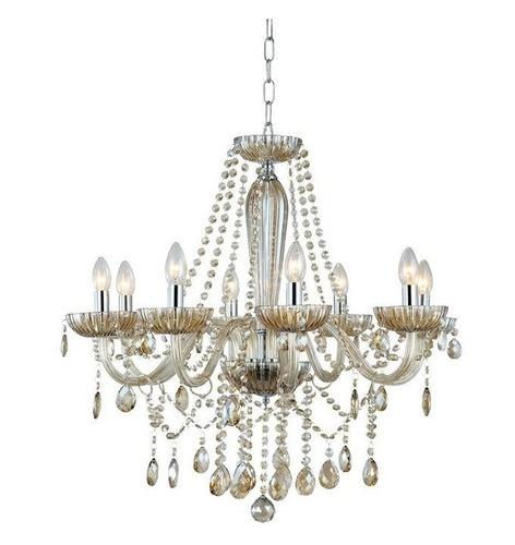 Lustre De Cristal Sala, Cozinha, Sala De Estar candelabro clássico vintage alumínio escovado para 8 lâmpadas Clássico de Cristal Anjou JF018A 8 braços em vidro âmbar 68cm x 68cm 8XE14 Bella Iluminação