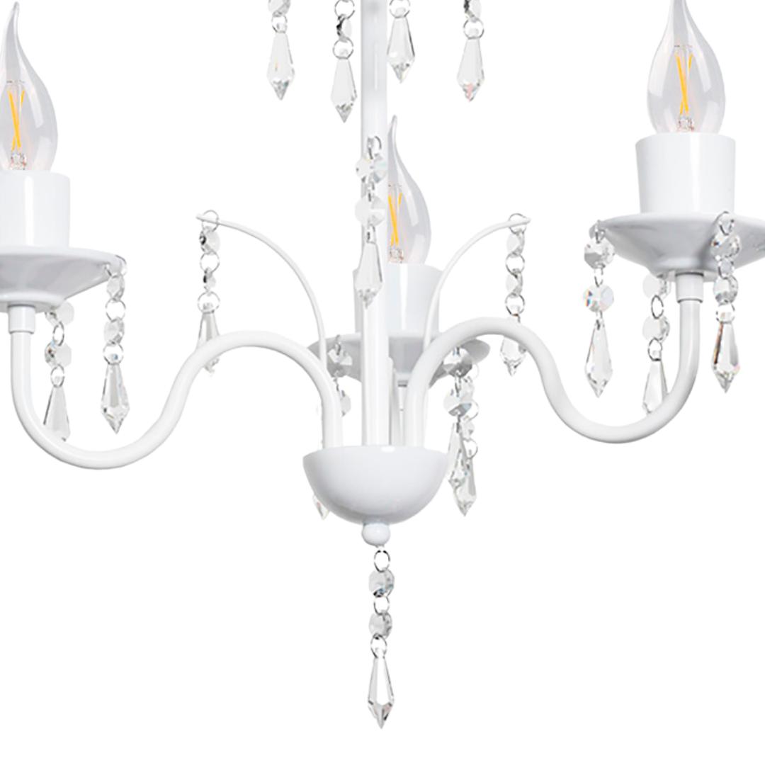 Lustre Clássico Cristais Branco Vintage Em Alumínio 3 Lâmpadas Duda