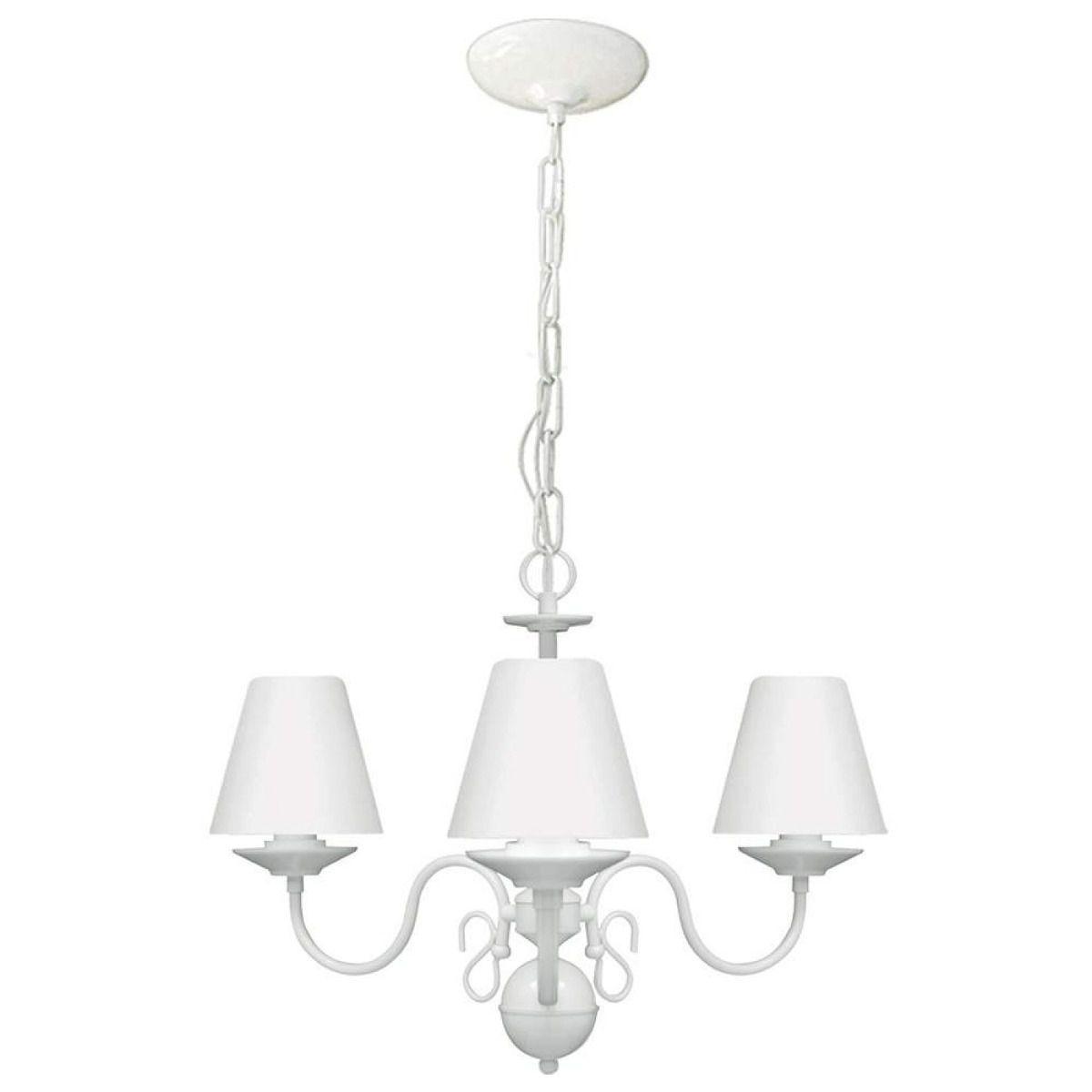 Lustre para quarto candelabro clássico vintage infantil branco para 3 lâmpadas