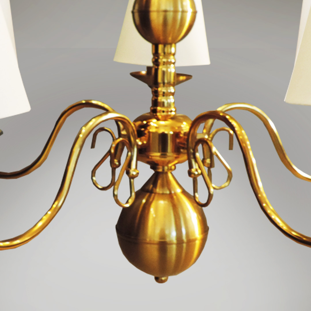Lustre Clássico Provençal Dourado 5 Braços com cúpula em tecido