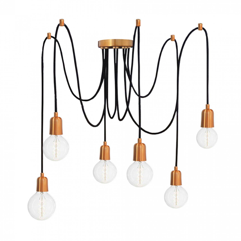 Pendente Aranha em alumínio verniz cobre para 6 lâmpadas E27 140cm x 12,5cm