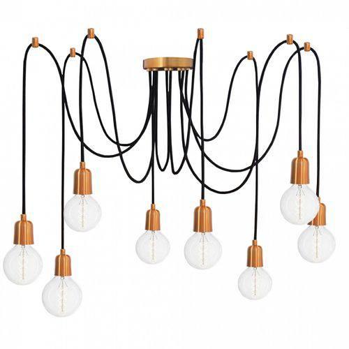 Pendente Luminária Aranha industrial cobre industrial retrô para 8 lâmpadas E27
